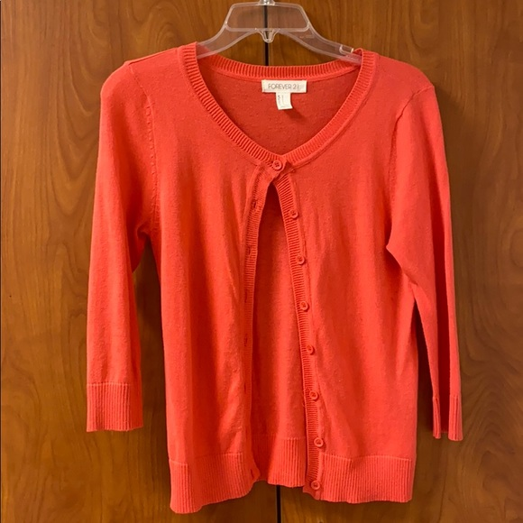 Forever 21 Sweaters - Forever 21 red-orange cardigan